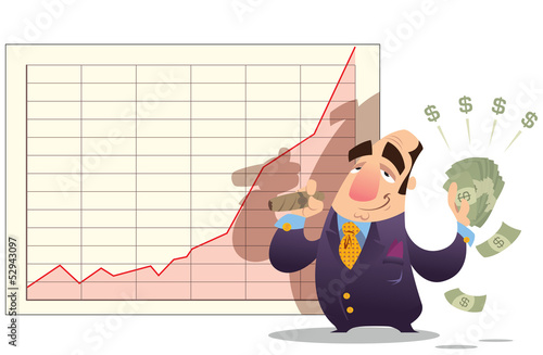 Man winning money as stock market goes up