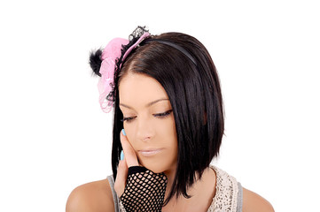 девушка с розовой шляпкой