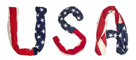 letters U, S, A, american flag