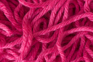 Close up of tangled red yarn
