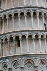 Detail of leaning Tower of Pisa in Italy in Pisa