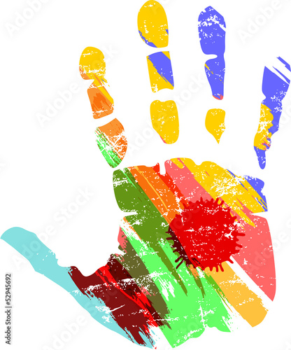 hand print with paint strokes, vector