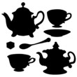 Set icon teapots, teacups, teaspoon, saucer and sugar
