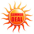 summer deal in 3d sun label