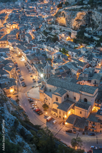italy, sicily, landscape of scicli at sunset