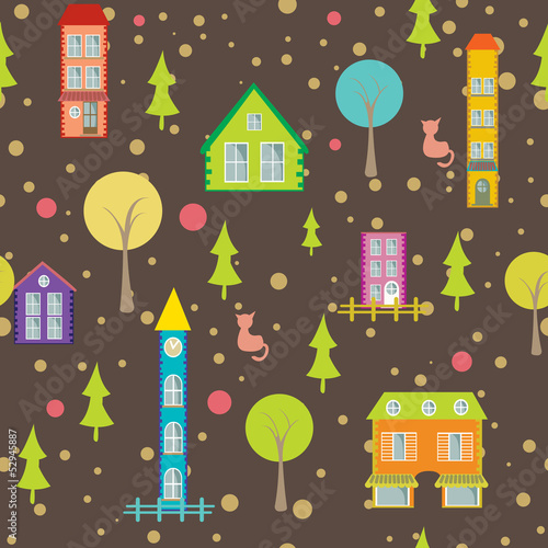 urban seamless pattern houses and trees on bright background