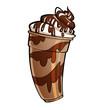 Leinwandbild Motiv Cartoon glossy chocolate milkshake