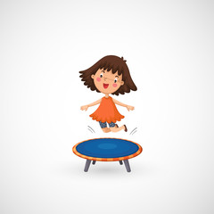 illustration of isolated a girl jumping on a trampoline