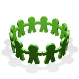 Green people connected in a circle holding their hands