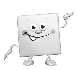 Happy cartoon 3D square smiling character presenting
