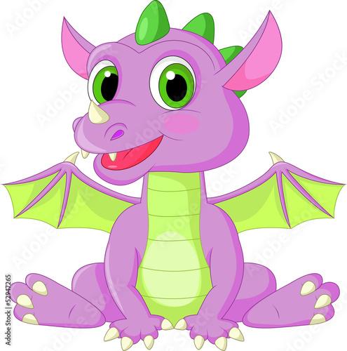 Cute baby dragon cartoon - 52947265