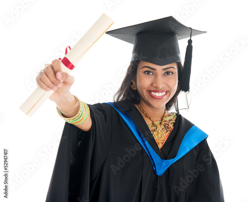 Indian graduate student showing her diploma certificate