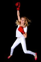 Portrait d'un boxeur belle femme