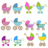 Large Set of Vector Baby Carriages