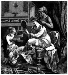 Ancient Rome : Patrician Woman & Slaves