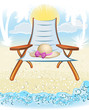 summer holiday background with hat, palm, chair