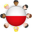 Poland Flag Button Teamwork People Group