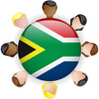 South Africa Flag Button Teamwork People Group