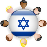 Israel Flag Button Teamwork People Group
