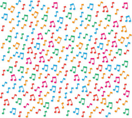Small colorful music notes background