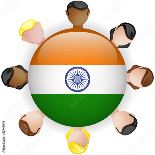 India Flag Button Teamwork People Group
