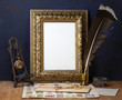 Picture gold frame and candle