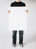 man with blank white board