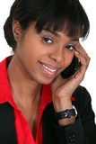 Smiling businesswoman taking a phone call
