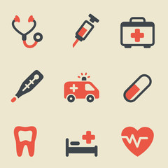 Medical black and red icon set
