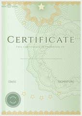 Green Certificate / Diploma template (design sample). Guilloche