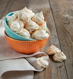 Meringue cookies. Selective focus