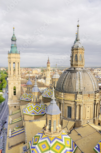 Aerial view of el Pilar cathedral-Basilica in Zaragoza, Spain