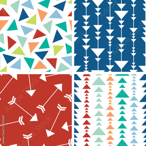 Vector arrows and triangles seamless pattern background with