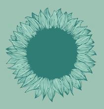 Bannière de texte de fleur ronde vert