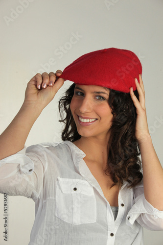 Woman wearing a red beret