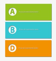 tre etichette in differenti colori  con spazio per il testo