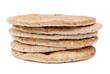 Flame baked pitas on white background