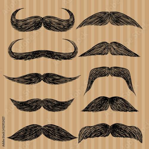 Different types of mustaches. Retro style.