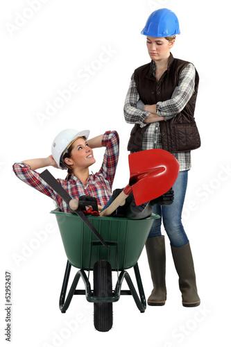 two craftswomen relaxing