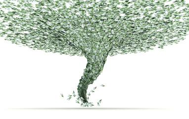 Crisi economica come tornado risucchia moneta