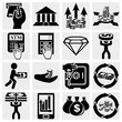 Finance, banking and money vector icons set.