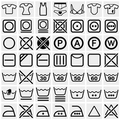 Washing symbols vector icon set on gray