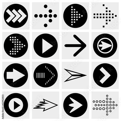 Arrow sign vector icon set.