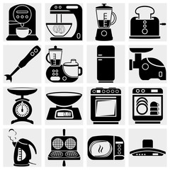 Household kitchen aplliance vector icons