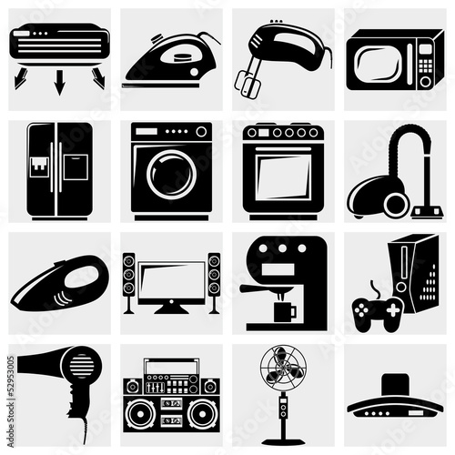 A vector collection of home appliances icons set on gray