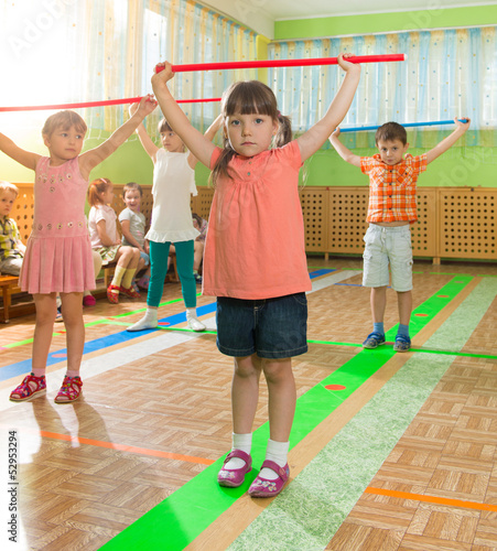 Cute little children at daycare gym