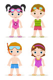 set of four swimming pool kids