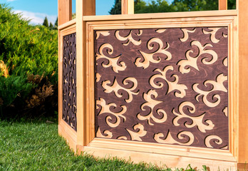 Outdoor wooden carved gazebo
