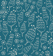 Materiał do szycia Doodle seamless pattern with flowers and hearts