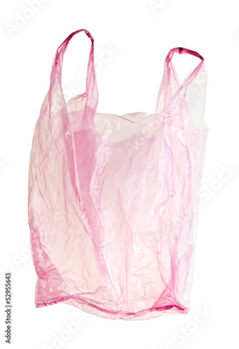 pink plastic bag with clipping path